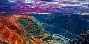 lanscape view of a colourful open pit mine