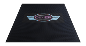 down's diner logo printed on a black floor mat