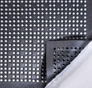 detailed view of a black wet area mat