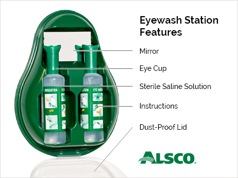 features of Alsco eyewash station