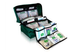 green first aid kit bag full of supplies