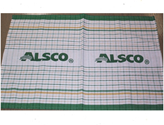 Cotton tea towel with Alsco printed name at the centre