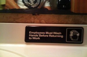 Employees reminder for cleanliness and hygiene.
