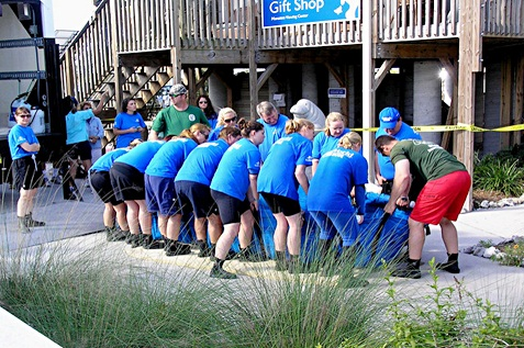 Happy employees on their team building.