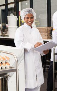white Food Coat Mandarin Collar