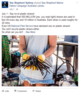 Sea Shepherd Sydney shared a post about plastic straws
