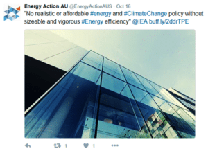 A tweet from Energy Action AU about energy efficiency