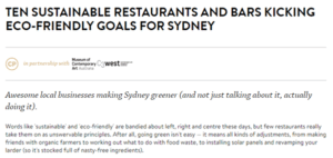 An article about making Sydney greener goals