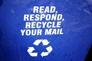 Recycle your mail sign