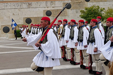 Greek guards known as Evzones.