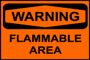Warning sign for flammable and combustible areas.