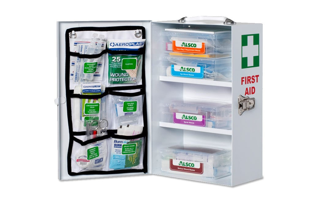 Alsco First Aid kit with different emergency supplies inside