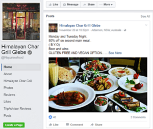 Facebook page of Himalayan Char Grill Glebe