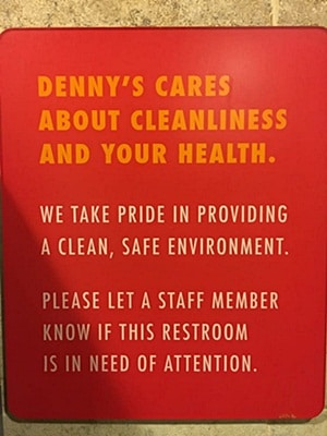 Bathroom cleanliness signage