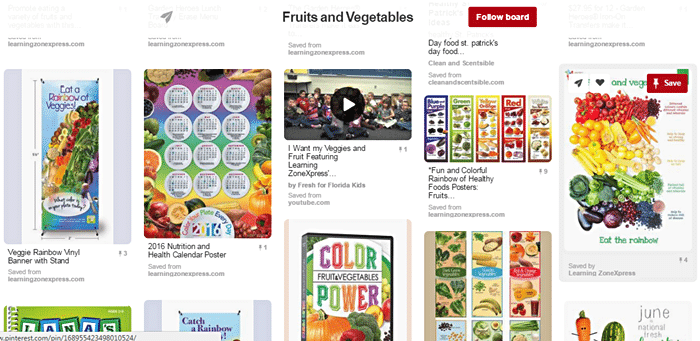 Fruits and vegetables board from Pinterest