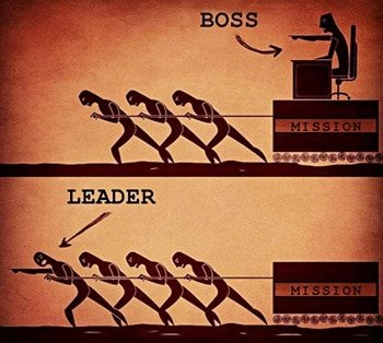 Leader versus boss poster