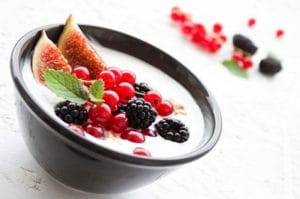 Yogurt with berries for snack