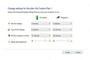 Laptop's control panel settings for battery power