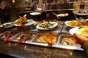Delicious buffet with different food menu choices