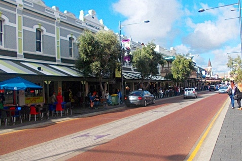 The busy street of Fremantle, Australia