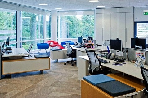 Clean and modern office utilising natural light