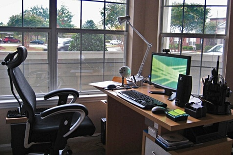 Home office with ergonomic chair