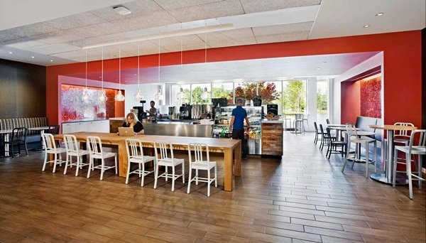 Spacious canteen with modern interior design