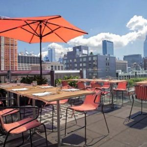 Great rooftop set up for outdoor dining
