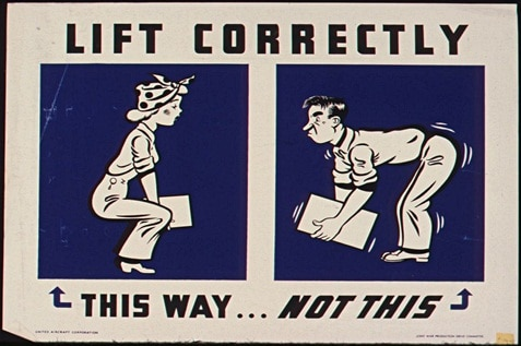 Poster for proper lifting technique