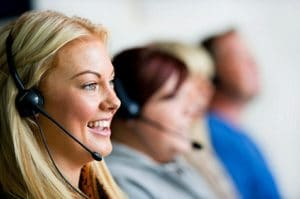 Four working call centre agents