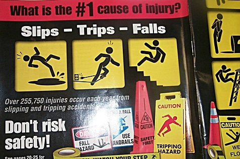 Strips, trips, falls poster for safety