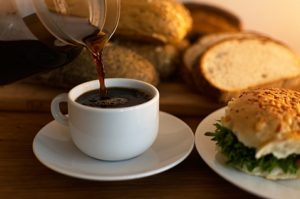 Freshly baked bread and a cup of coffee