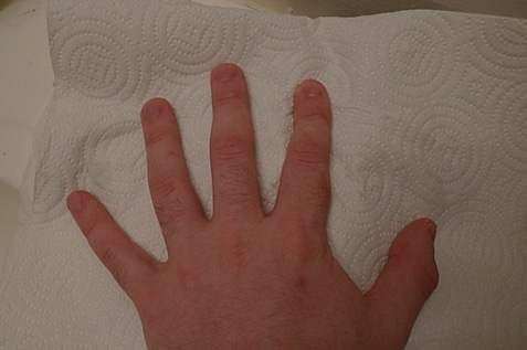 Hand holding a paper towel