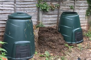 Two compost bins