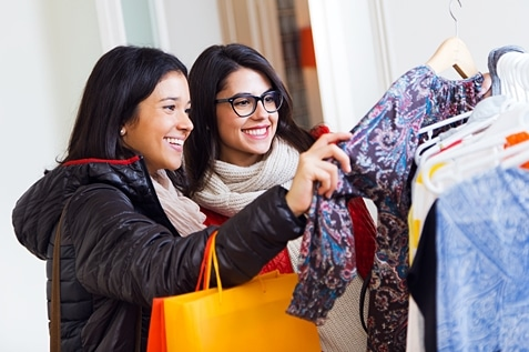 Female woman shopping for clothes