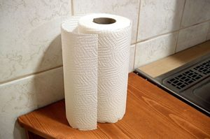 A plain white cploured paper towel