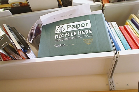 A green recycle box for used papers