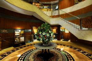 A luxurious hotel lobby with beautiful flowers