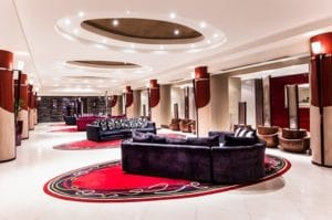 Modern interior design hotel with red acsent