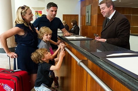 A family checked in a hotel