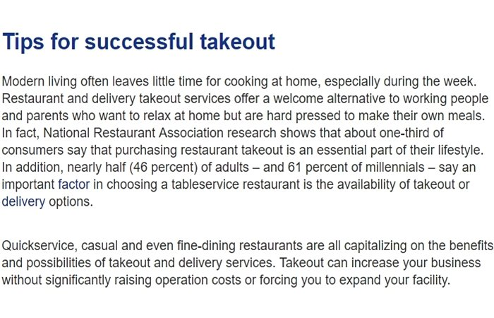 Tips for a successful take out