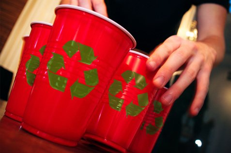 Recycle plastic cups