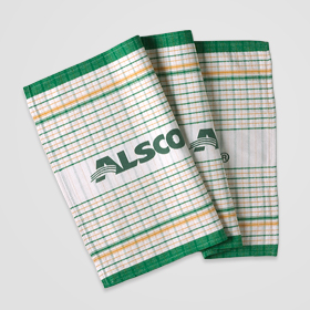 Cotton Green & Gold Striped and Checked Tea Towel