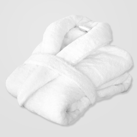 clean white folded bathrobe