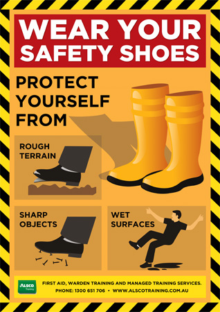 Alsco Training Safety Posters Wear Safety Shoes Alsco
