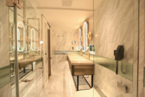 elegant washroom with warm lighting