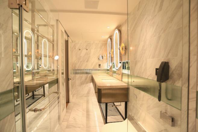 elegant washroom with warm lighting