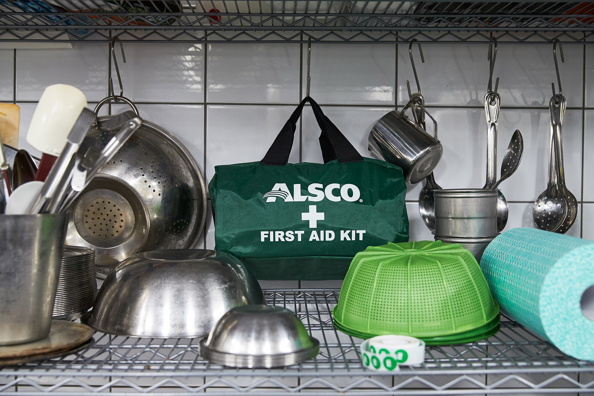 Alsco first aid kit in the kitchen