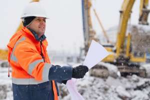 Construction Worker in Snow